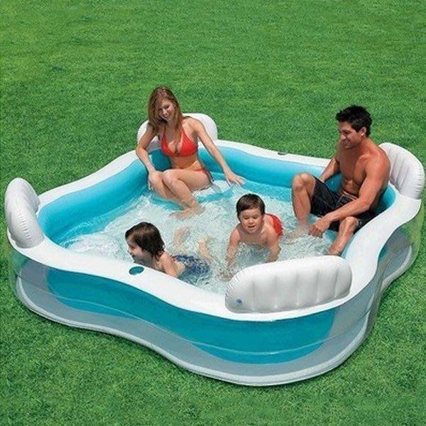 5Cgo【批發】含稅會員有優惠 16015487577 美國INTEX 靠背座位家庭充氣水池兒童充氣遊泳池歐美游泳池