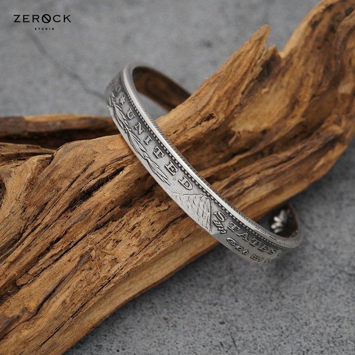 《ZEROCK》日本 NORTH WORKS 1美元 手工打造 摩根硬幣 尾部雙貝銀幣手鐲 手環