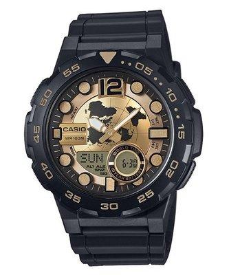 CASIO卡西歐10年電力電子錶世界時間30組電話號碼紀錄雙顯橡膠腕錶 金x黑 46mm (AEQ-100BW-9A) 基隆市
