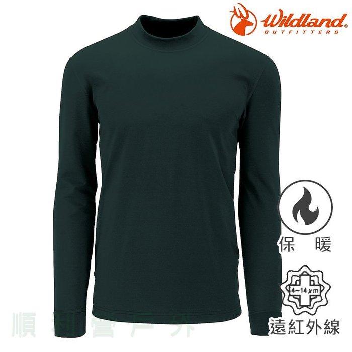 荒野WILDLAND 男款遠紅外線彈性立領保暖衣 W2652 深橄欖 衛生衣 發熱衣 內衣 OUTDOOR NICE