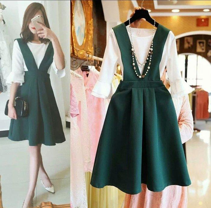 日韓 吊帶裙 兩件套 七分袖 洋裝 氣質 顯瘦 荷葉袖 大尺碼 Me Gusta