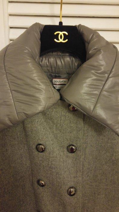 Max & co 羽絨內裡泡泡領灰色羊毛異材拼接雙排釦短大衣