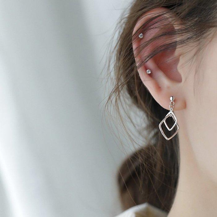 幾何 鏤空 方形 拼接 吊墜 簡約 氣質 耳釘 耳環 【SE889】