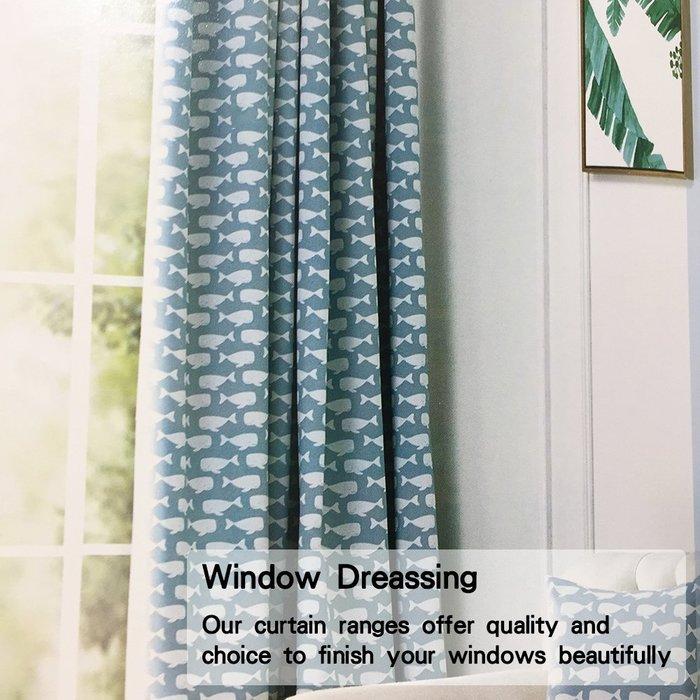 簡約北歐風格 小鯨魚 傳統褶 (3折) S勾 對開式 145x250cm DIY窗簾 訂製窗簾 窗簾布 成品窗簾