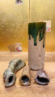 1/24結標 日本 手捏 掛花入 4件組 0100874 ─花道具 花藝 花器 花瓶 茶道具 茶藝  日式 和室