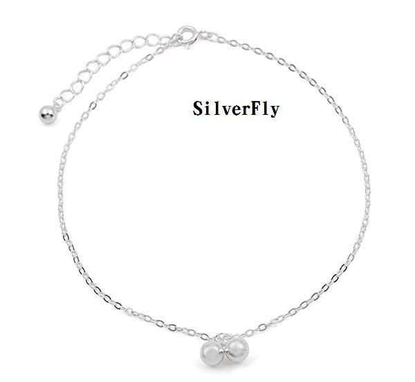 純銀株株時尚腳鍊《 SilverFly銀火蟲銀飾 》