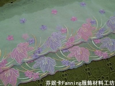 【芬妮卡Fanning服飾材料工坊】熱銷款 春天氣息 雙層網布花朵蕾絲  刺繡花邊 DIY手工材料 2米入