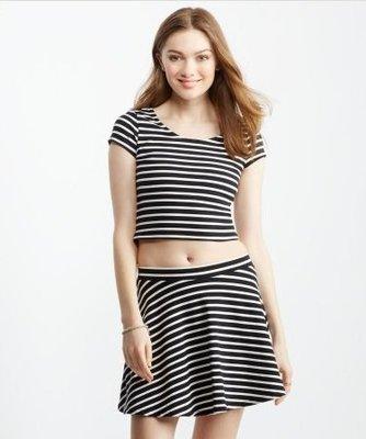 美國Aeropostale Aero striped skater skirt Set XS號黑白條紋溜冰俏妞裝一套含運