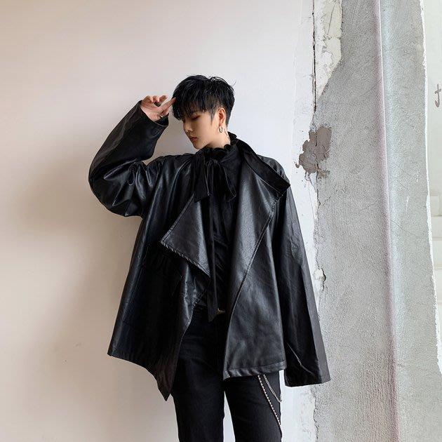 FINDSENSE 2019 秋冬上新 G19  不對稱復古時尚寬鬆皮夾克男裝百搭寬鬆休閒外套