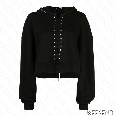 【WEEKEND】 UNRAVEL 切割 拼接 綁帶 寬鬆 長袖 衛衣 帽T 上衣 黑色 19春夏