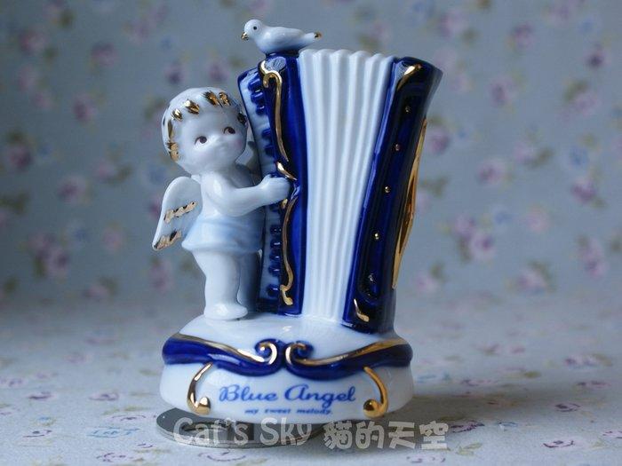 《Cat Sky》日本進口Blue Angel藍天使.手風琴.陶瓷旋轉音樂鈴.傳情/交換禮物.聖誕禮物