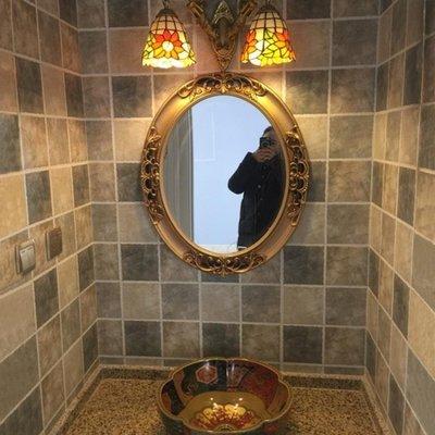 浴室鏡子 美式復古歐式橢圓浴室鏡 裝飾墻衛浴衛生間廁所梳妝化妝壁掛鏡子