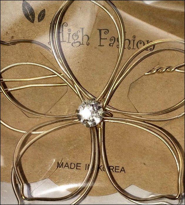 未拆封只有一個 立體鏤空 飾水鑽金色花朵髮夾  大  浪漫童話公主風 新娘飾品禮服  取貨