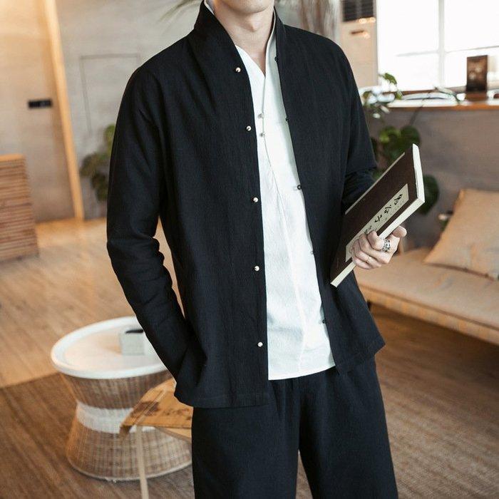 男士襯衫2017秋季男士中國風漢服棉麻襯衫加肥加大碼男式亞麻長袖休閒襯衣 秋季襯衫