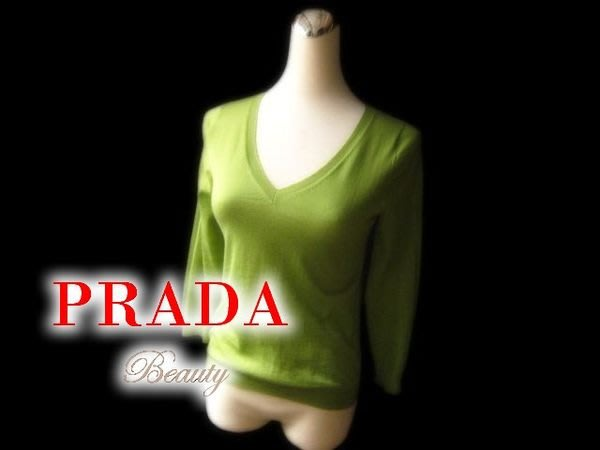 *Beauty*PRADA綠色V領長袖針織 義大利製 百分百喀什米爾 40號IR