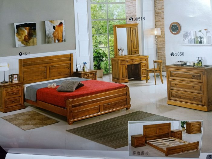 【D】商品貨號S1611-9商品名稱 《興軒》5尺古典正樟木床套組(圖1)床檯.床頭櫃*1鏡檯組.三斗櫃.備有六尺可選