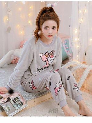 《 HelloMiss 》秋冬 頑皮豹 答浪 保暖 法蘭絨 珊瑚絨 可愛 卡通 長袖 睡衣 居家服 套裝