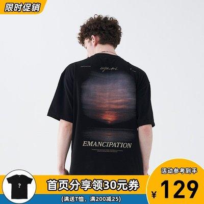 阿倫777 harsh and cruel落日電影感排版手寫潮牌街頭印花短袖T恤