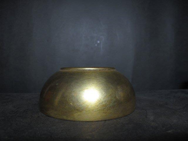 老銅爐 ◎  銅鎏金 水洗式 素圓平底 壓經銅香爐 【玉簡堂 款】