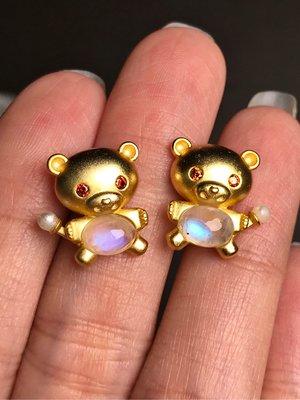 天然月光石耳環 藍月光石可愛小動物小熊造型925純銀鍍銠金耳釘耳針 飾品配件《舒唯水晶》