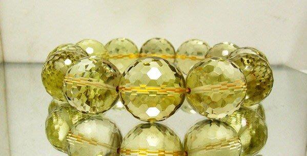 小風鈴~天然頂級寶石級19mm鑽切割面黃水晶手鍊~淨重120.5g 財運石(大手圍)