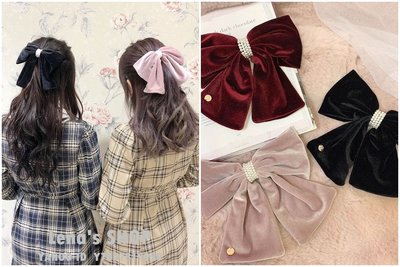🌸Lenas通販⭐特價⭐2020年11月日本知名品牌三色復古甜美珍珠裝飾小金牌絲絨蝴蝶結髮夾髮飾頭飾