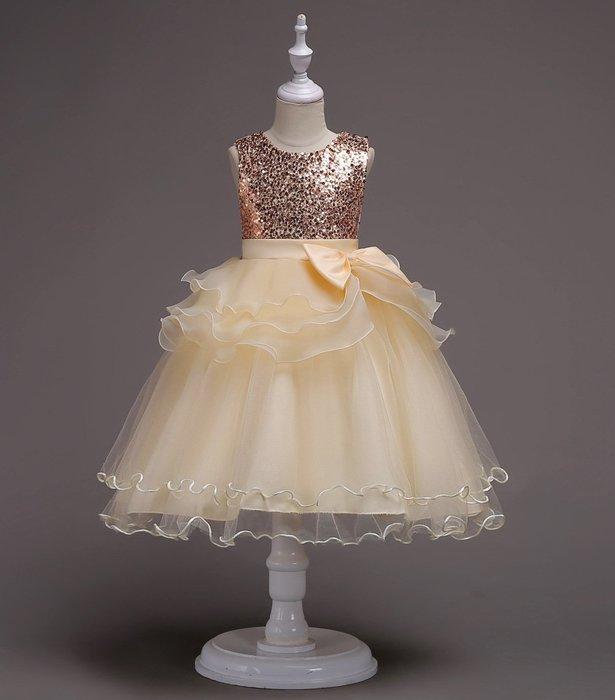 •*~ 辣媽咪衣飾小舖 ~*•❤童裝系列❤K970499韓版大童夏款甜美清新時尚蓬蓬蕾絲亮片可愛公主禮服公主洋裝