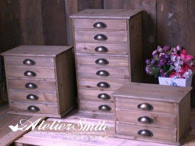 [ Atelier Smile ] 鄉村雜貨 復古作舊原木色八抽抽屜櫃 桌面收納櫃 (現+預)