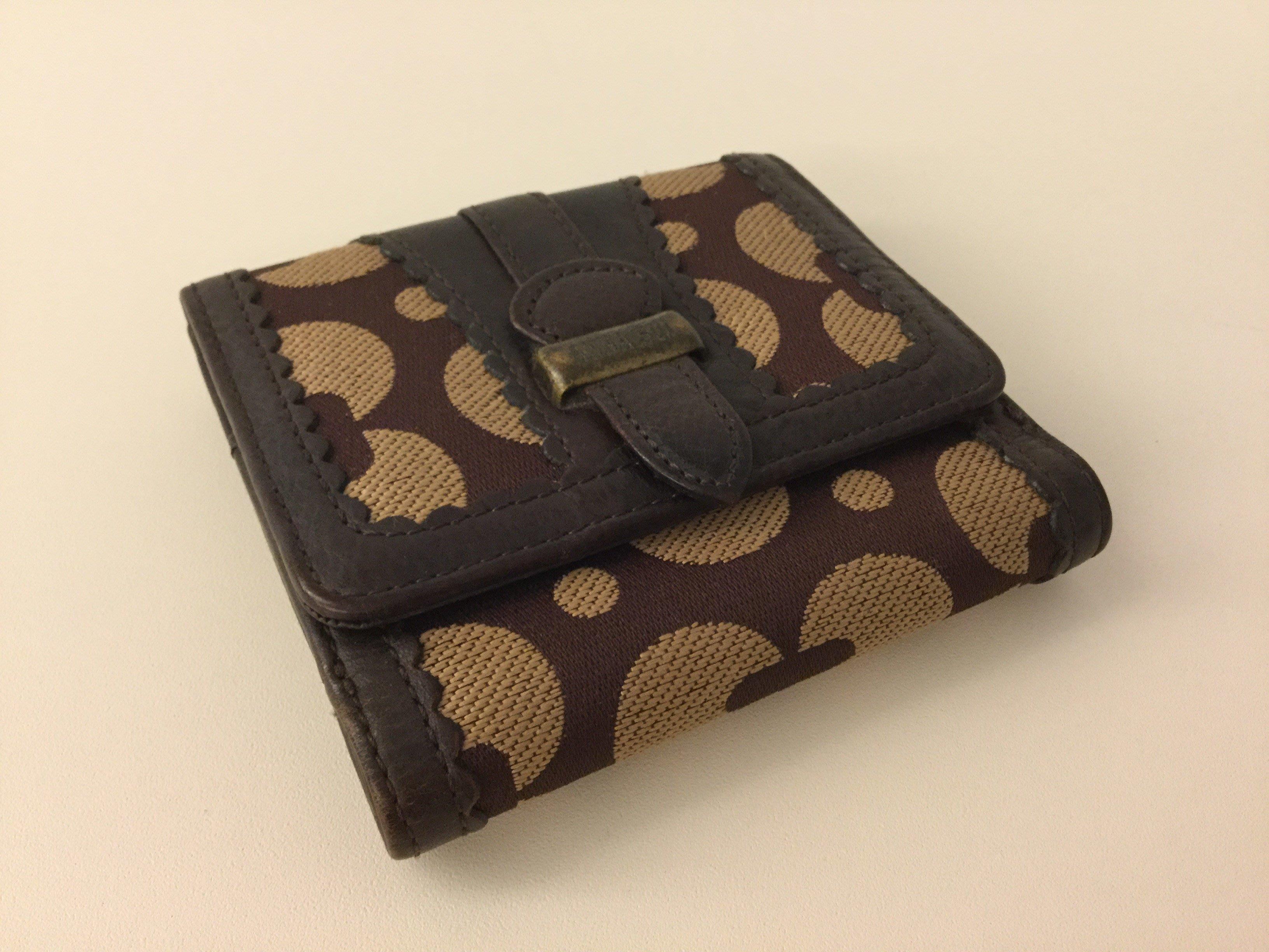 ANNA SUI 安娜蘇 真皮革包邊專櫃皮夾 短夾 零錢包