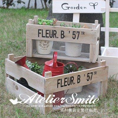 [ Atelier Smile ]  鄉村雜貨  限量新品 舊木鐵線儲物箱 收納箱 原木花架 M號下標區 (現+預)