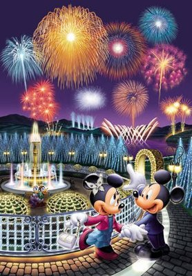 日本正版拼圖 迪士尼 米奇 米妮 煙火秀 浪漫約會 1000片雷射絕版拼圖 1000-276