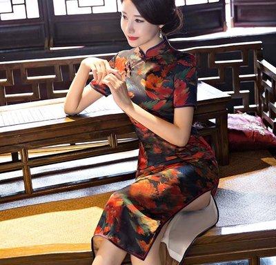 【賣旗袍的小丫頭】-復古旗袍中長款 新款夏大碼優雅修身顯瘦日常絲綢旗袍 改良時尚禮服