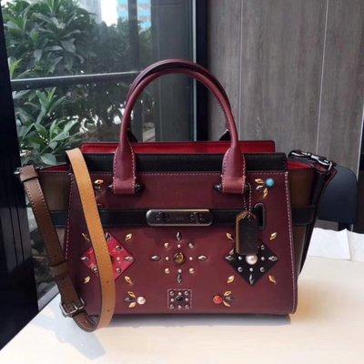 (Outlet特惠)COACH 25744 新款拼接鉚釘珠飾手提包 附購買證明
