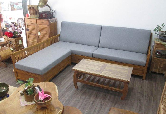 【肯萊柚木傢俱館】出清特價 柚木L型沙發組 掀蓋 抽屜收納空間 沙發布可全拆洗限量一組出清價53800元