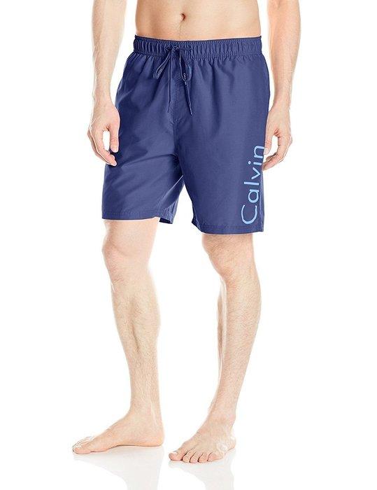 美國百分百【Calvin Klein】短褲 CK 休閒褲 海灘褲 泳褲 沙灘褲 衝浪褲 藍灰 男 S M L號 I258
