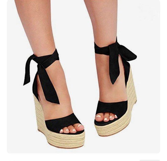 淘鞋季 2020歐洲早春新款坡跟舒適麻繩款涼鞋 楔形厚底涼鞋