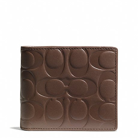 Coco小舖COACH 74686 Signature Embossed  Compact ID Wallet 駝色