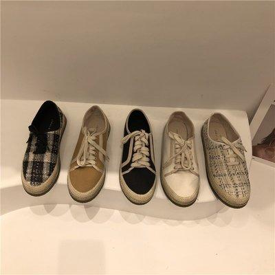 Eling Shoes韓製女鞋東大門女鞋2021年新款秋鞋帆布鞋漁夫鞋休閒懶人系帶單鞋
