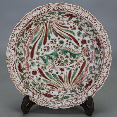 元代出土紅綠彩魚草紋花口盤 古玩 古董 民間收藏