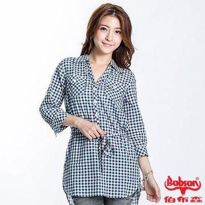 【BOBSON】格紋長版五分袖襯衫(藍)~L