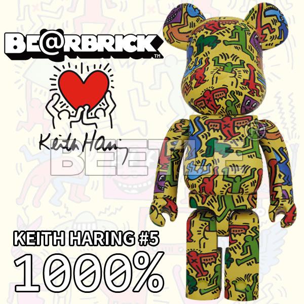 BEETLE BE@RBRICK KEITH HARING #5 凱斯哈林 庫柏力克熊 藝術家 塗鴉 黃色 1000%