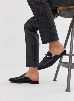 ◎美國代買◎ASOS金屬鏈條裝飾鞋面搭配鱷魚壓紋皮革英倫雅痞風拖鞋鞋款懶人雅痞風鏈條鱷魚皮拖鞋式皮鞋~歐美街風~大尺碼