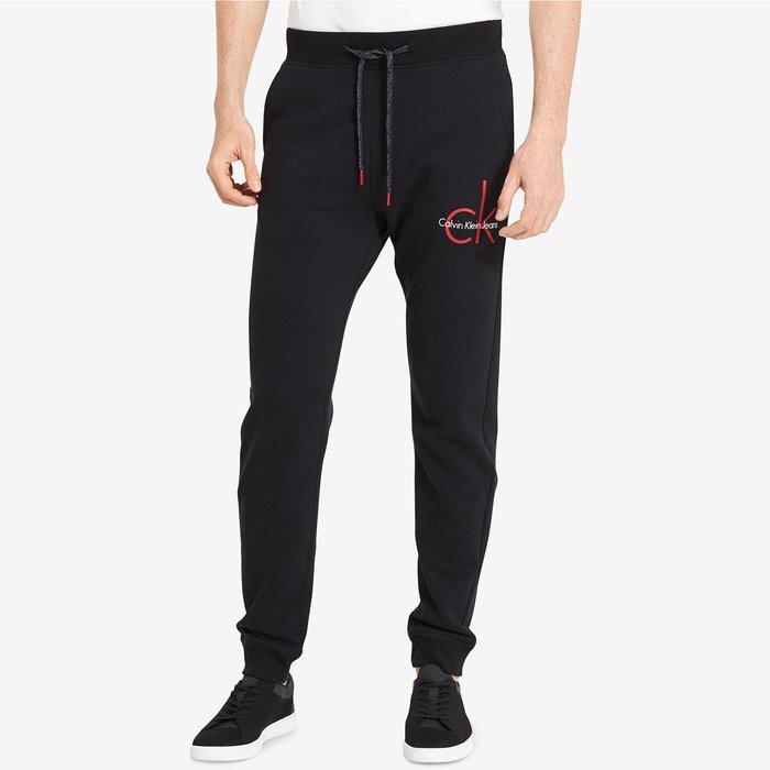 美國百分百【Calvin Klein】棉褲 CK 休閒褲 長褲 jogger 縮口束口 褲子 黑色 紅logo I719