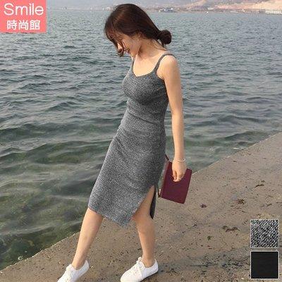 【V2964】SMILE-美妙曲線.V領無袖側開叉針織連身裙