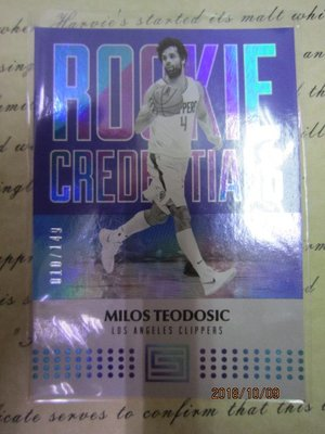 新賣家~17/18~Milos Teodosic /149~RC~STATUS~CREDENTIALS~限量/149~
