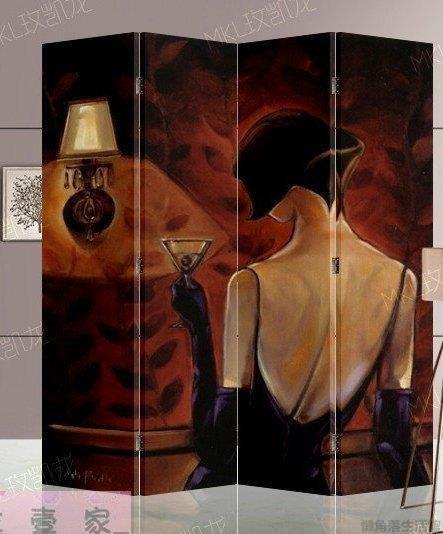 【源品】屏風 隔斷  玄關 四扇 雙面 簡約現代折屏 酒女郎 MKL4109Y~P566