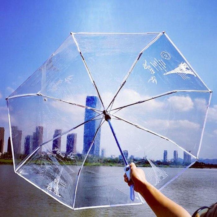 Qiutong鐵塔圖案全自動折疊透明傘 透明雨傘自開自收創意雨傘兩色