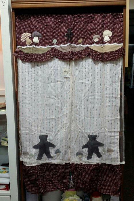 美生活館--全新鄉村風格拼布 立體 咖啡色點點香菇熊 格紋薄紗雙層長門簾/裝飾簾/櫃簾/窗簾 90*150 cm