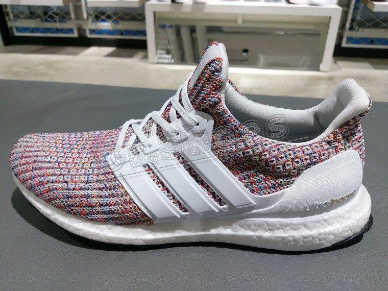 96c886edf6509  Dr.Shoes  Adidas Ultra Boost 4.0 男鞋白彩虹編織休閒鞋