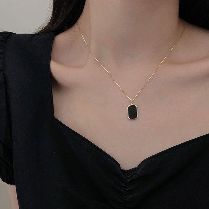【極簡時尚】純銀幾何小方牌項鍊設計感氣質鎖骨鍊
